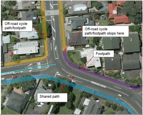 Auckland Transport plan for Calliope Rd / Victoria Rd intersection